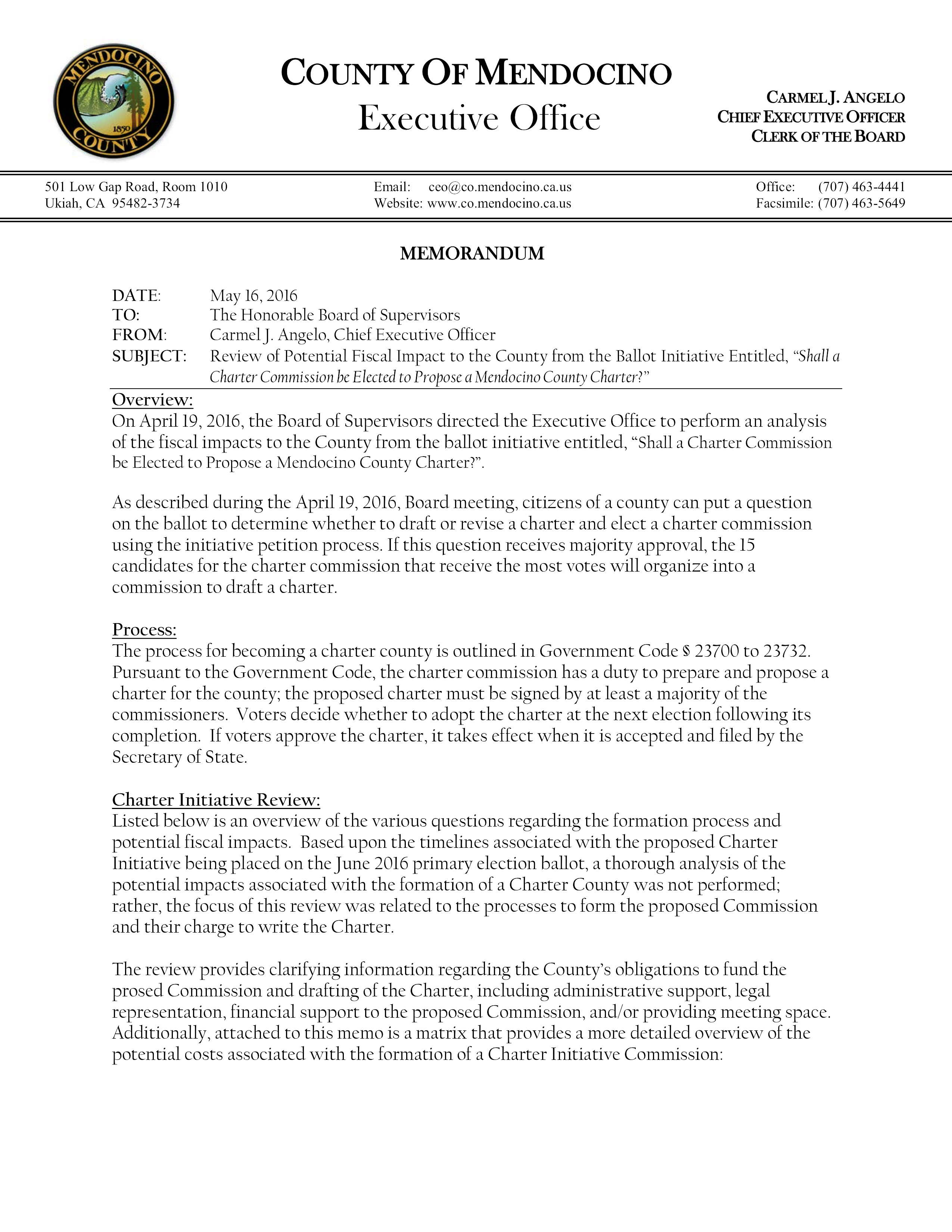 16-05-16 Potential Fiscal Impact of Measure W - P.1